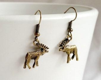 Dangle Earrings, Elk Earrings, Moose Earrings, Brass Woodland Earrings, Brass Elk Dangle Earrings, Rustic Folk Earrings, Boho Chic Jewelry