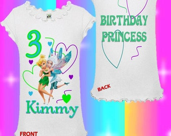 Tinkerbell Birthday Shirt - Tinkerbell and Periwinkle Birthday Shirt
