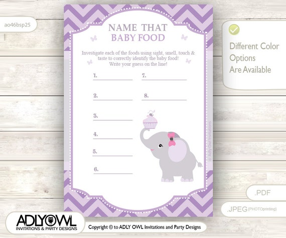 purple grey girl elephant name that food baby food guess game