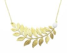 Gold Branch Necklace, Large Leaf Necklace, Gold Leaf Necklace , Statement Necklace, Woodland Leaf Necklace, Brass Leaf, Bridal Gift