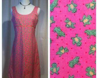 Vintage Pink Frog Polka Dot Cotton Novelty Print Empire Waist Mini Dress, Small