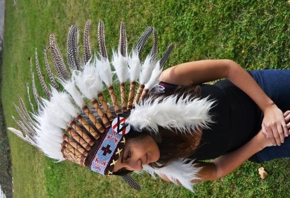 S43-Indian Chic Natural Colour Feather Headdress