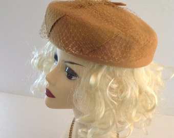 Vintage 1950s Mustard Yellow 100% Wool Pillbox Ladies Hat with Netting and Grosgrain Detailing from Glenover, Henry Pollak Inc. New York