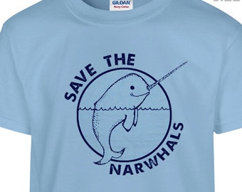 YOUTH / KIDS Save the Narwhals T Shirt Funny Kids T Shirt Cool Childrens Shirt Cute Kids Shirt Unicorn Shirt