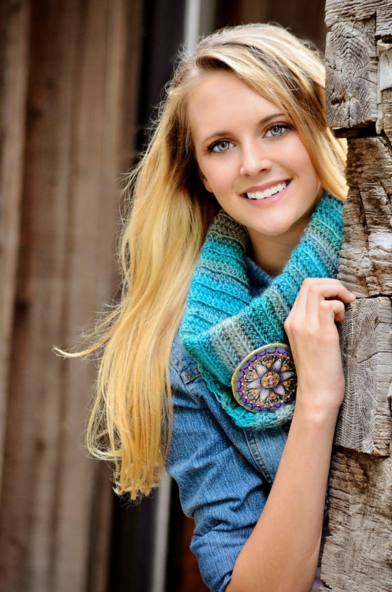 Womans Cowl City Scarf, Circle Scarf, Soft Blues,Super Soft Cowl Neck Warmer, Artisan Jewelry Pin to Hold, Fold Over or Wear as a High Neck