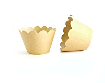 12 Kraft Scallop Cupcake Wrappers - Cupcake Liners, Cupcake Cases, Cupcake Wrapper, Muffin Cups, Muffin Wrappers