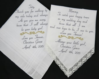 Wedding Gifts For Parents Handkerchief : Wedding gifts for Mom Dad Embroidered Handkerchiefs Personalized gifts ...