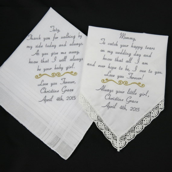Wedding Gifts For Mom : Wedding gifts for Mom Dad Embroidered Handkerchiefs Personalized gifts ...