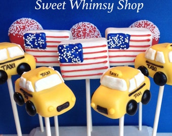 12 NYC Taxi & American Flag Cake Pops for New York wedding, vacation, birthday, baby shower, USA, America, Manhattan, NY proposal, travel