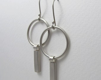 Heike Earrings - Modern Jewelry, Bar Hoop Earrings, Bar Hoops, Evening Earrings, Modernist Earrings, Modern Silver Dangle Earrings