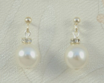Olivia Swarovski Pearl & Crystal Bridal Earrings