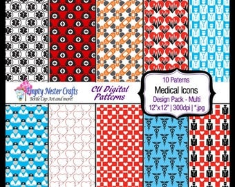 Medical Icons Nursing Digital Paper pack 12x12, Badge, bag, band aid,Nurse,Heart Commercial use ok, paper craft. scrapbook, digital download