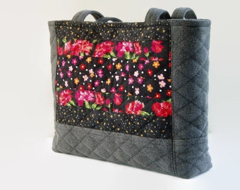 Black Denim Jean Quilted Purse Red Orange Pink Black Floral Fabric Handbag, Upcycled Recycled Repurposed, Small Tote Bag