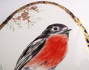 Vintage Robin Red Breast Oval Wall Hanger, Bird Perched on a Branch, Signed June Creedon Hand Painted Ceramic Plaque