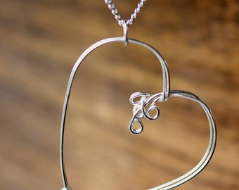 Cross My Heart - Handmade Wire Wrapped Heart Pendant Necklace and Chain