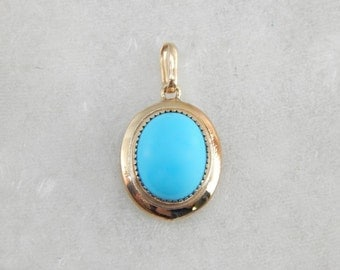 True Robins Egg Blue Turquoise Pendant  WTRCF3-N
