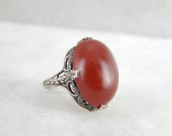 Sienna Carnelian And Antique Sterling Silver Ladies Ring MVJ07E-N