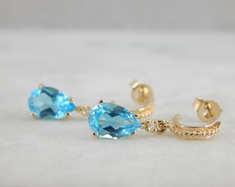 Gold Hoops With Blue Topaz Drops EE8H3L-N
