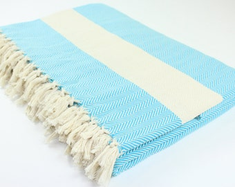 Extra Large Beach Picnic Bed Outdoor Camping Throw Cotton Herringbone Turkish Towel Blanket Exclusive Quality Blue Christmas Gift
