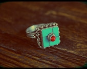 Tibetan Mandala Ring with Turquoise and Coral