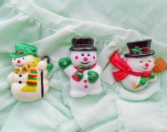 Vintage Retro 80s 90s Christmas Xmas Snowman Santa Claus Father Christmas Pin Badge