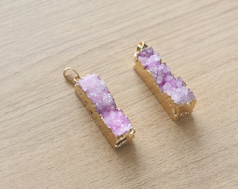 1 pcs of long strip Pink druzy agate with 24K Real gold Plating pendants