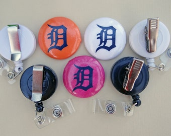 Retractable Badge Holder - Laminated Fabric Covered Button - Detroit Tigers