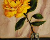 Sale- Single Bold Yellow Rose in a Small Glass- Original Flower Oil Painting- Floral Art Study