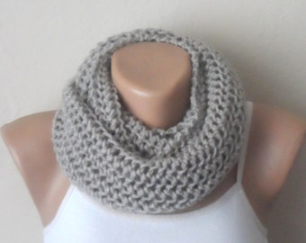 gray knit infinity scarf  gray circle scarf loop scarf shawl knit scarf