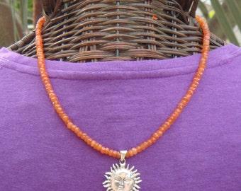Carnelian Bead Necklace, Sun Necklace, Sterling Silver Sun Pendant, Sun Pendant, Carnelian Gemstones, Orange Gemstones, Sterling Silver Sun