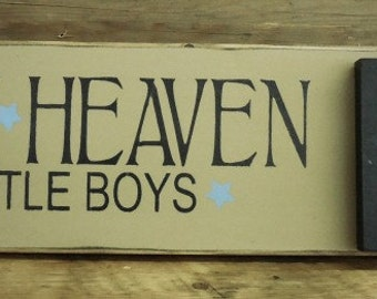 Thank Heaven For Little Boys - Sign w/ Frame | Country | Primitive | Rustic | New Arrival | Nursery Sign | Baby Shower Gift