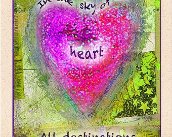 In the SKY of the HEART - Poetry Art / 5x7 or 8x10 Print