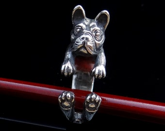 French Bulldog Ring, Silver Ring, Dog Ring, Adjustable Ring, Cute Animal Ring, Handmade Dog Jewelry, Animal Jewelry