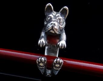 French Bulldog Ring, Silver Ring, Dog Ring, Adjustable Ring, Cute Animal Ring, Handmade Dog Jewelry, Animal Jewelry