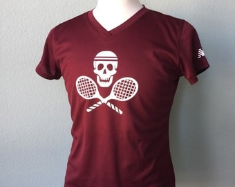 WOMENS Tennis Skull and Cross Rackets New Balance Dry Fit Athletic Shirt