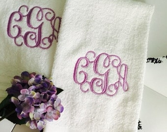 Embroidered MONOGRAM Hand Towel Vine Monogram New Home Personalized Gift Kids Bathroom