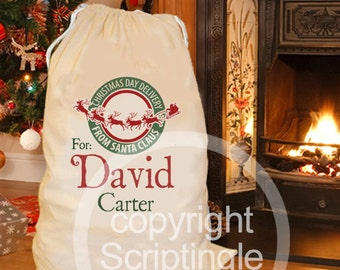 Festive green & red Personalised Santa sack / personalised Christmas sack