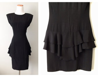 Vintage Peplum Little Black Dress Body Con Ruffle Mini Skirt Avant Garde HOT Gothic 1980s Sexy Party Slim Fitted Short Dress Size 7 8 Medium