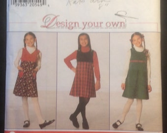 Vintage Girls' Jumper Dress Pattern // Simplicity Design Your Own 7723, sizes 12-14-16