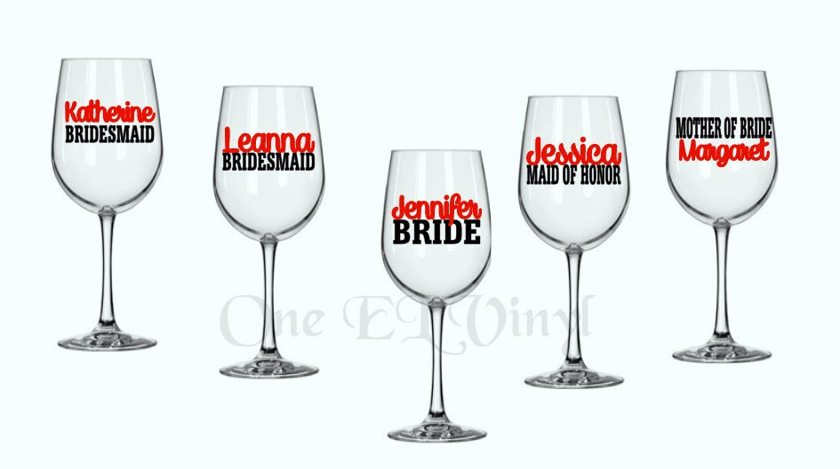 DIY Decal Bridal Party Mother Of Bride Flower Girl Vinyl - How to make vinyl decals for wine glasses