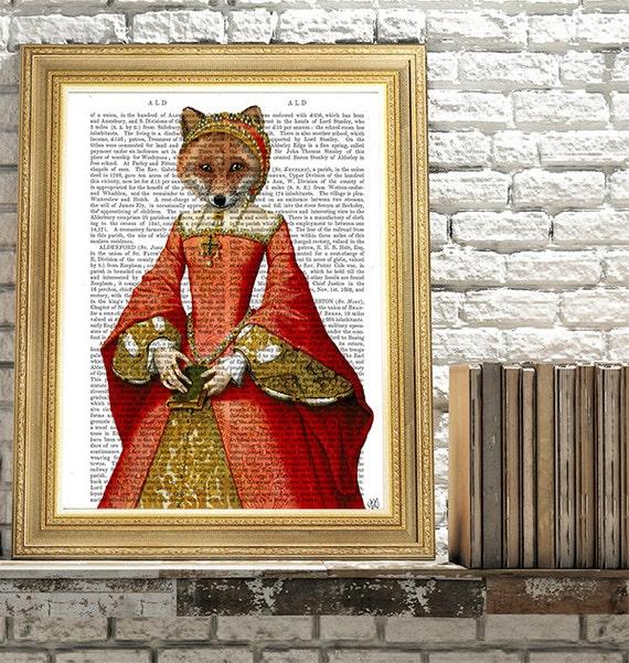 Fox Art - Fox Queen  Fox print fox picture fox illustration fox painting fox nursery art foxy lady gift for mom whimsical animal bedroom art