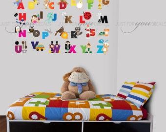 Alphabet Wall Decal - Alphabet Decal - Animal Nursery Wall Decals - Playroom Wall Decal - Play Room Wall Decal - Wall Sticker - 01-0031