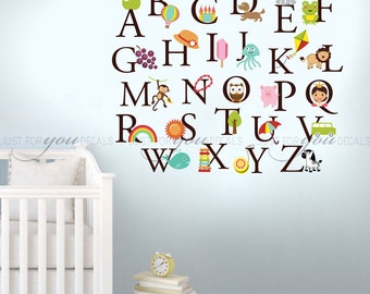 Alphabet Wall Decal, Nursery Wall Decal, Playroom Wall Decal, Alphabet Decal, Alphabet Nursery Art, Nursery Wall Art, Alphabet Art 01-0036