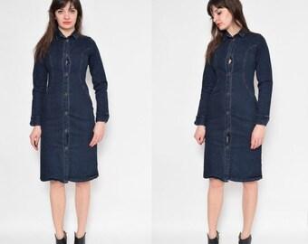 Vintage 90's Denim Long Sleeve Midi Dress