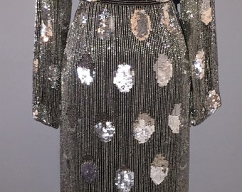 80s Black Silk Beaded and Sequined Evening Dress
