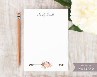 Personalized Notepad - PAINTED FLORALS II - Stationery / Stationary Notepad - rustic tribal floral peonies arrows watercolor notes