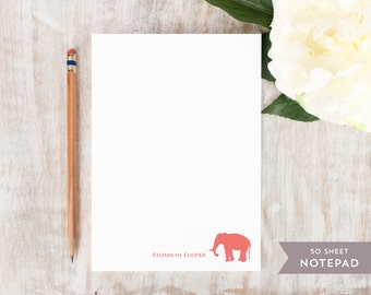 Personalized Notepad - ELEPHANT - Stationery / Stationary Notepad