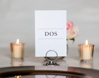 Spanish Wedding Table Numbers, Simple, Minimalistic, Spanish Numbers, 4x6, 5x7, Tented, Folded