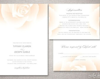 "Modern Rose ""Tiffany"" Wedding Invitation Suite - Romantic Floral Garden Invite - Personalized DIY Digital Printable or Printed Invitations"
