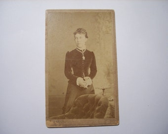 CDV carte de visite Vintage photo girl studio portrait Paper Ephemera Cabinet upcycle recycle repurpose Old Victorian Antique Collectibles